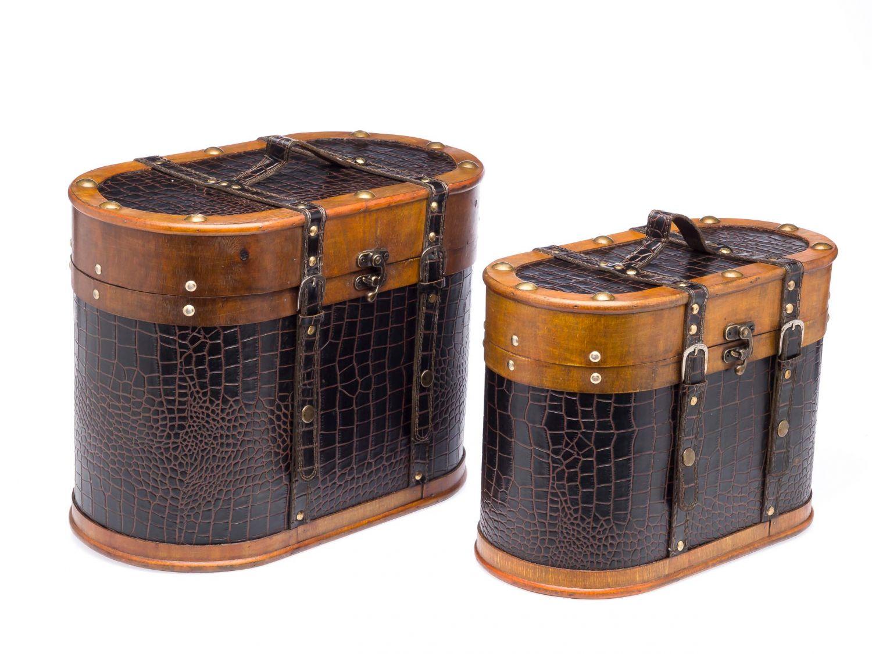 2x Beautycase Koffer Box Kiste Retrolook Holz Kosmetikbox Schatzkiste Vintage