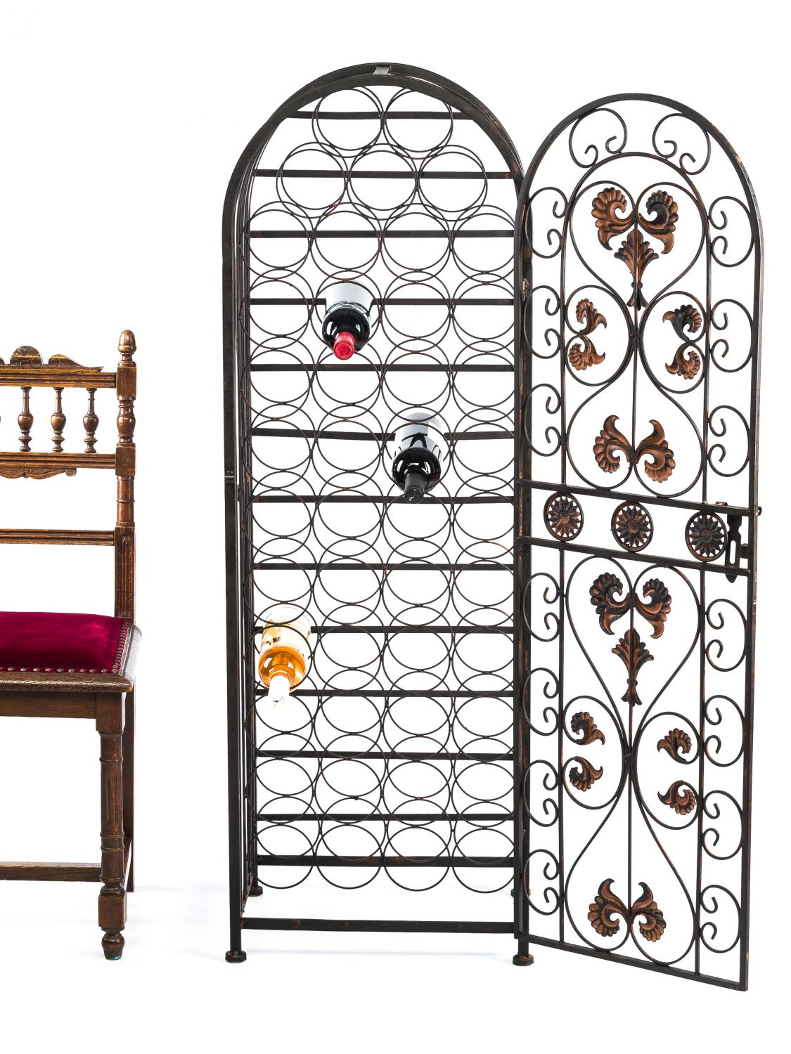 weinregal antik stil fleur de lis metall flaschenregal. Black Bedroom Furniture Sets. Home Design Ideas