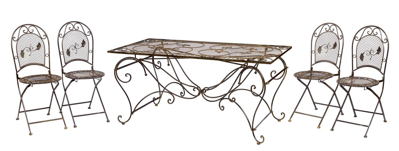 XXL Gartentisch + 4 Stühle Eisen Tisch Gartenmöbel antik Stil garden ...