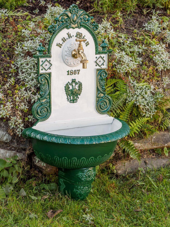 Waschbecken brunnen wandbrunnen 72cm alu garten im antik for Garten waschbecken antik