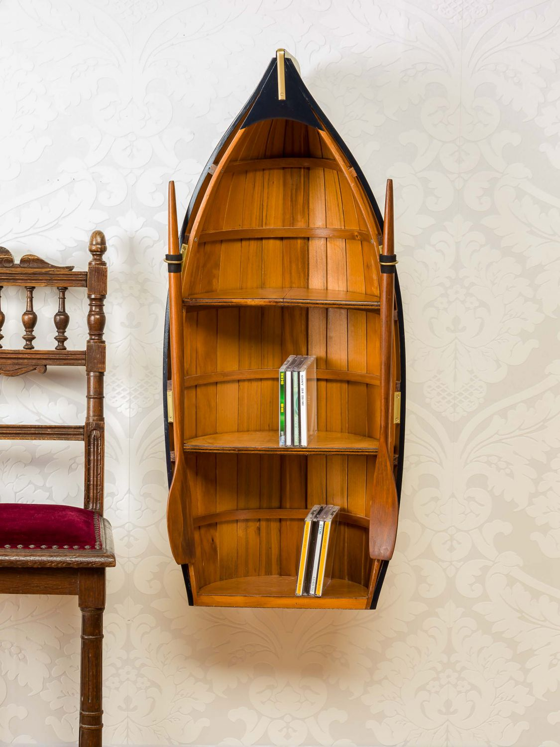 regal boot holz bootsregal schiff maritim dekoration schrank 90cm wooden rack ebay. Black Bedroom Furniture Sets. Home Design Ideas