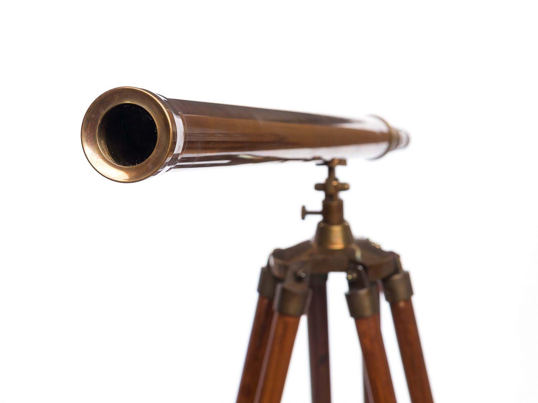 Großes teleskop fernrohr fernglas messing brüniert holz stativ 150cm