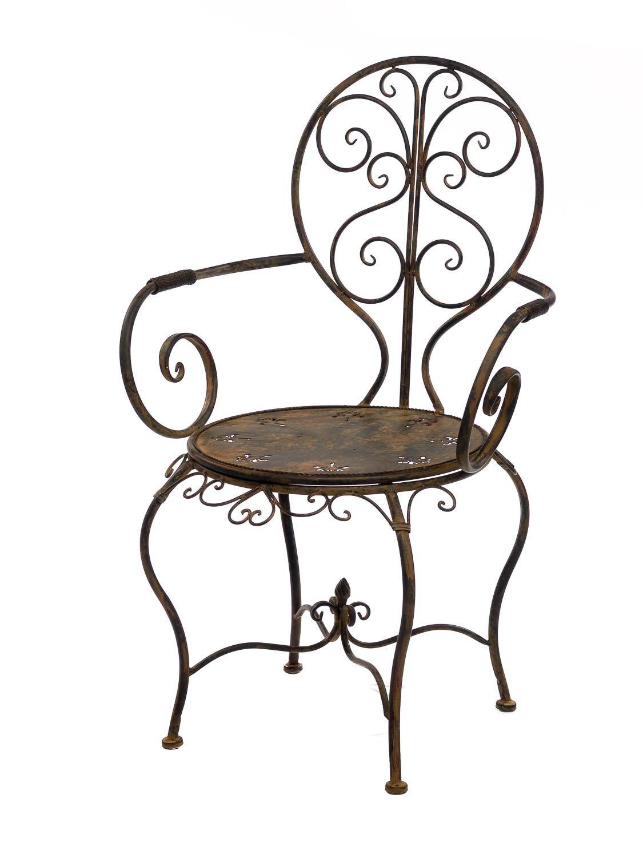 Meubles salon de jardin en fer m tal mobilier brun de for Meuble de jardin en metal
