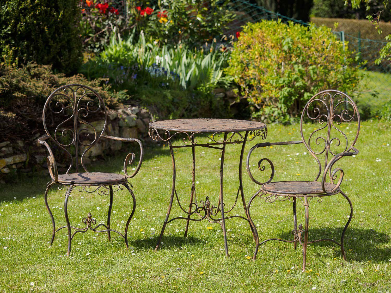 gartenset eisen metall garnitur garten m bel braun antik stil ebay. Black Bedroom Furniture Sets. Home Design Ideas