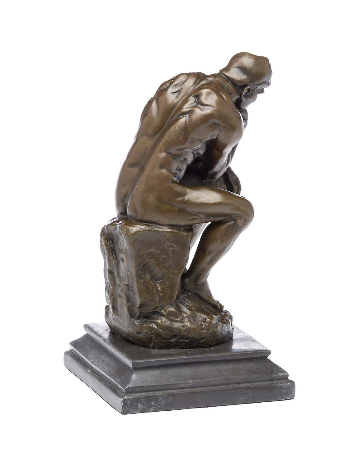 Bronzeskulptur der Denker Mann Bronzefigur Skulptur nach Rodin 25cm Kopie Replik