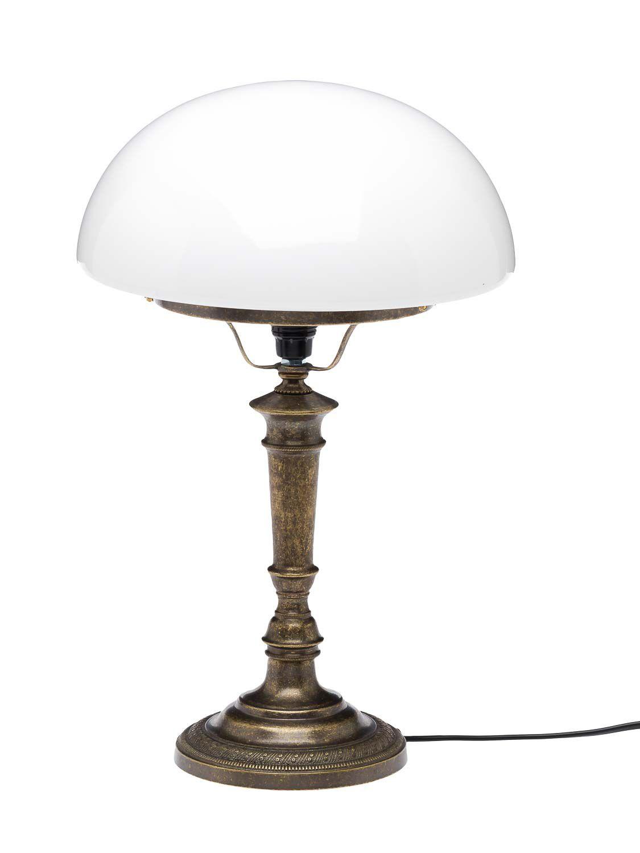 tischlampe schreibtischlampe antik stil lampe messing br niert glas 40cm ebay. Black Bedroom Furniture Sets. Home Design Ideas
