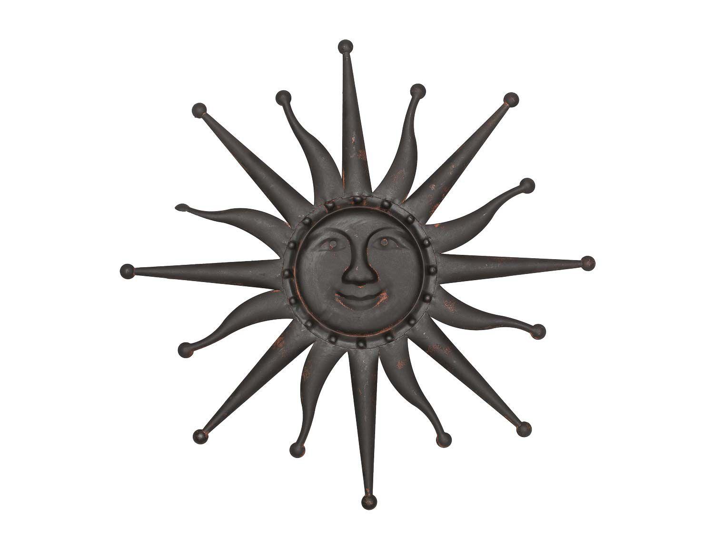 sonne wanddekoration 60cm metall deko garten terrasse braun metal garden sun ebay. Black Bedroom Furniture Sets. Home Design Ideas