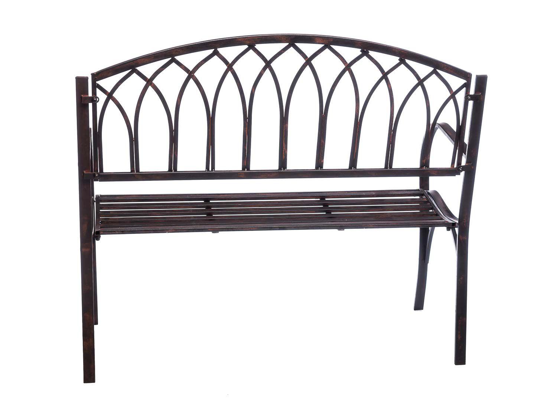 Nostalgie Gartenbank Metall Eisen Antik-Stil braun Gartenmöbel Garten Park Bank  eBay