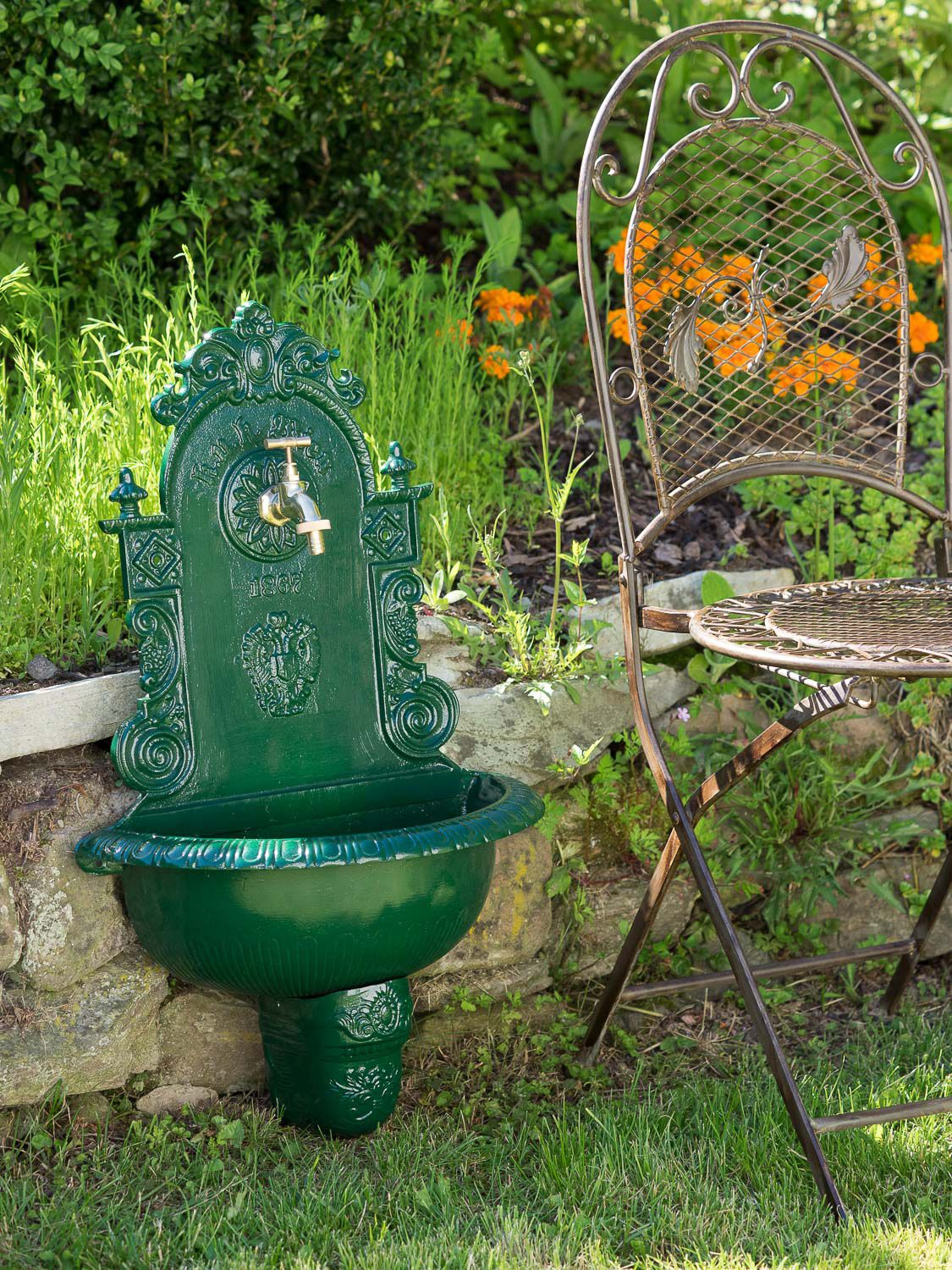waschbecken brunnen wandbrunnen 72 5cm aluminium garten antik stil gr n fountain ebay. Black Bedroom Furniture Sets. Home Design Ideas