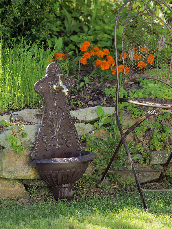 Waschbecken brunnen wandbrunnen 66cm alu braun garten im for Garten waschbecken antik
