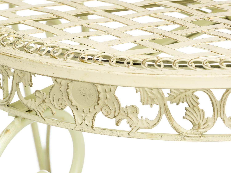 Détails sur Salon de jardin - 1 table et 2 chaises - fer forgé - style  antique - blanc/crème