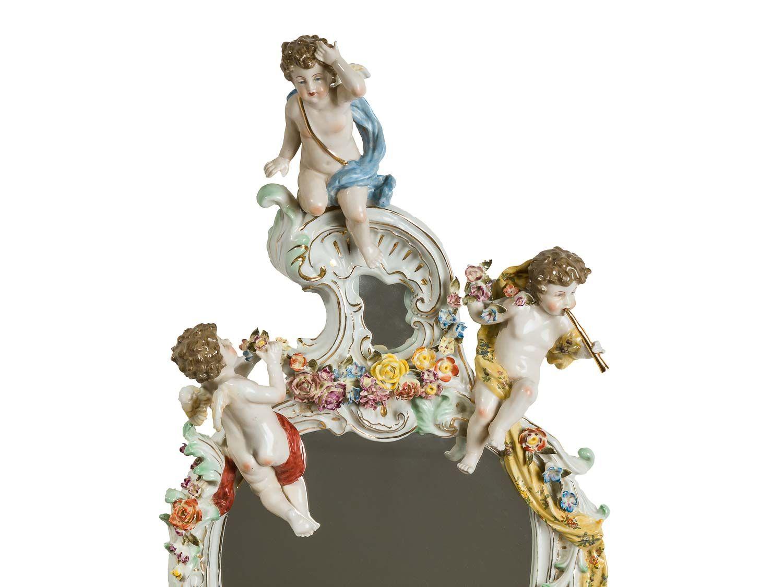 Miroir mural angelots et motif floral style antique for Force de miroir ebay