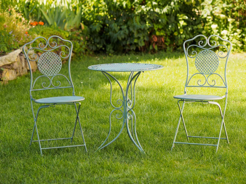 gartenset tisch und 2 st hle eisen antik stil gartenm bel gr n bistroset ebay. Black Bedroom Furniture Sets. Home Design Ideas
