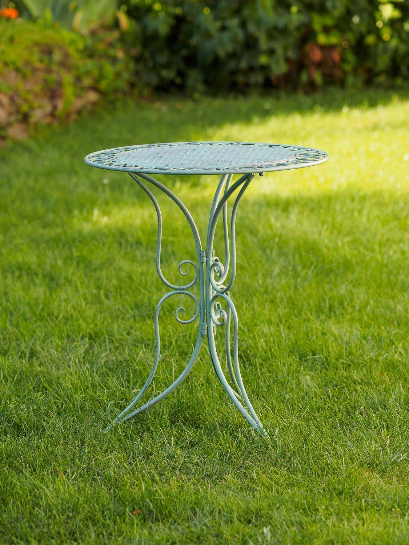 Mobili da Giardino Set Giardino Tavolo e 2 sedie in Ferro Antico Stile Verde