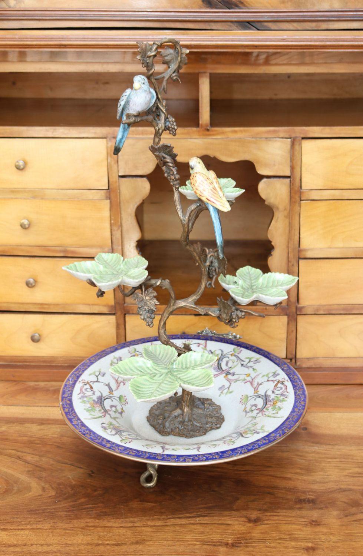 schale etagere porzellan und bronze v gel 60cm hoch ebay. Black Bedroom Furniture Sets. Home Design Ideas