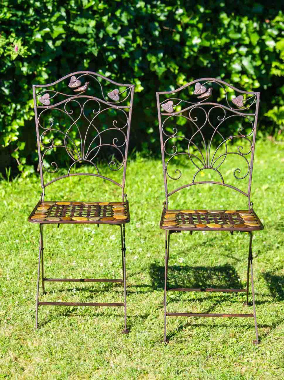 Nostalgie Gartenstuhl 9kg Schmiedeeisen Klappstuhl Stuhl antik Stil braun Eisen