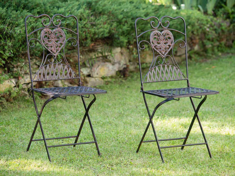 2x gartenstuhl paar stuhl bistrostuhl eisen antik stil gartenm bel braun ebay. Black Bedroom Furniture Sets. Home Design Ideas