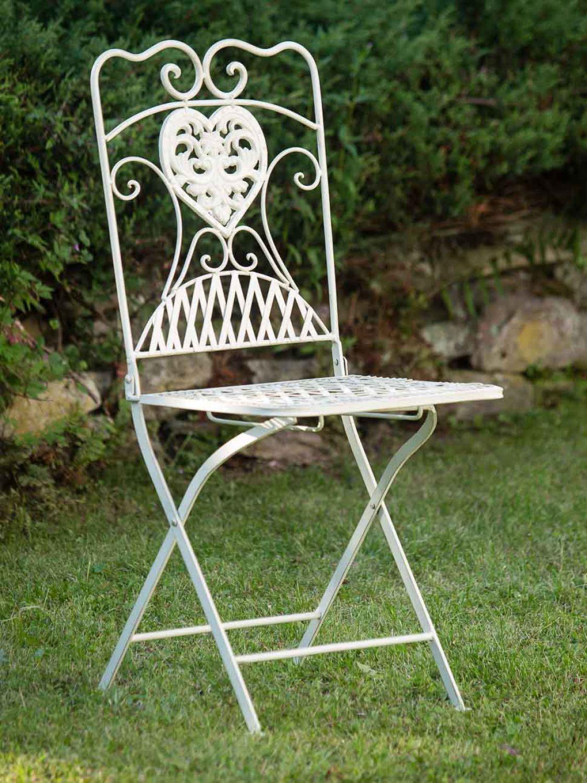 2x gartenstuhl stuhl bistrostuhl garten eisen antik stil creme wei ebay. Black Bedroom Furniture Sets. Home Design Ideas