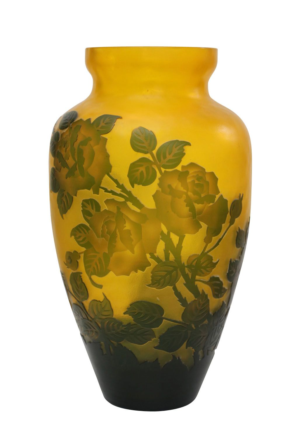 vase en verre style antique 31cm fleurs vase roses jaune ebay. Black Bedroom Furniture Sets. Home Design Ideas