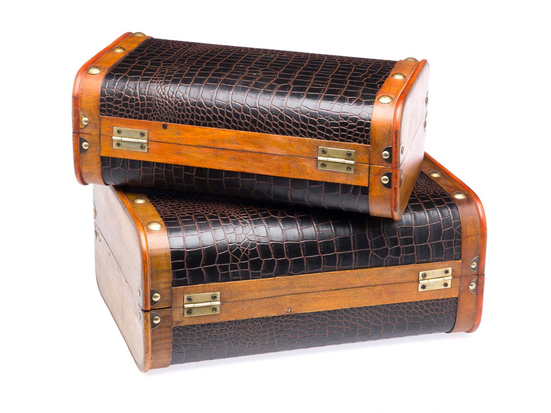 Coppia valigia cassa di legno tronchi di legno in stile for Case stile antico