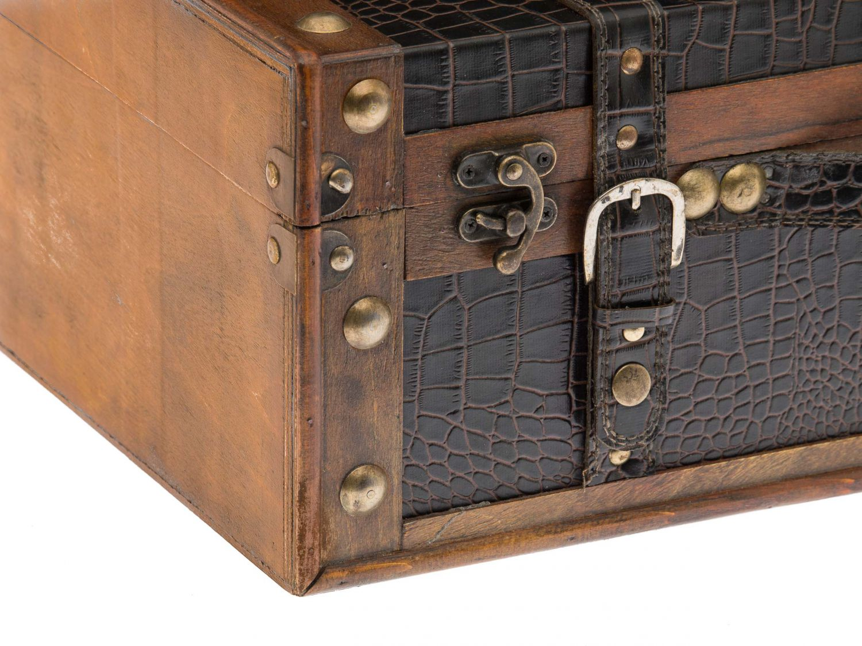 2er set wooden case box vintage trunk suitcase chest. Black Bedroom Furniture Sets. Home Design Ideas
