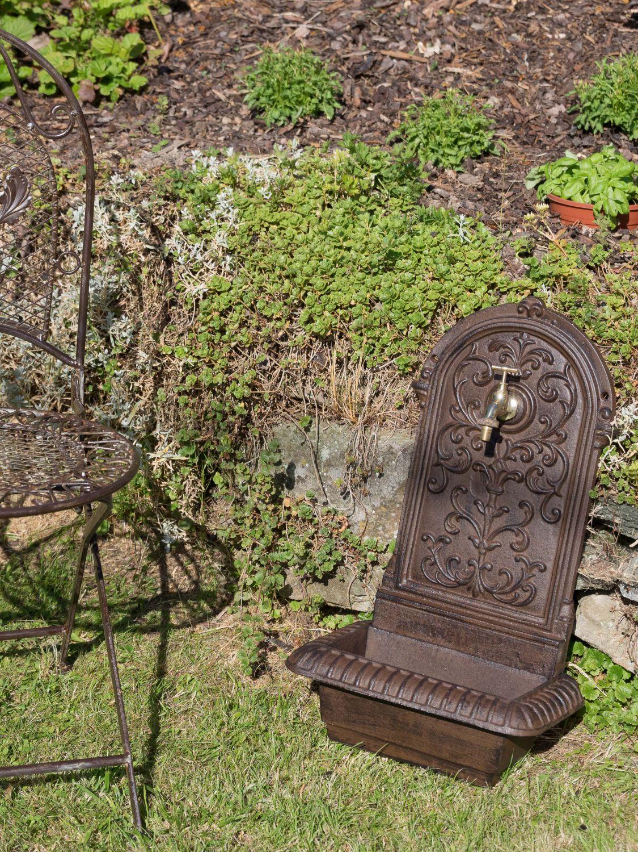 Brunnen 66cm waschbecken eisen braun wandbrunnen garten for Garten waschbecken antik