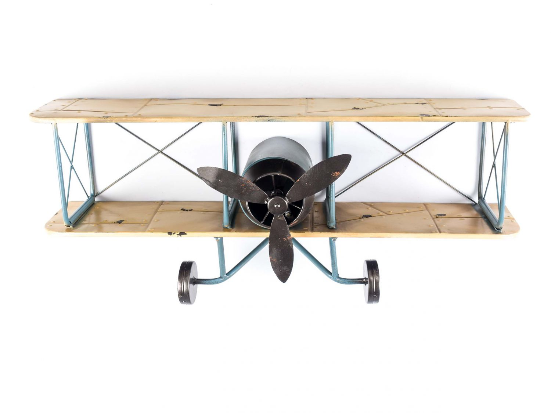 wandregal flugzeug metall doppeldecker regal blechflugzeug. Black Bedroom Furniture Sets. Home Design Ideas