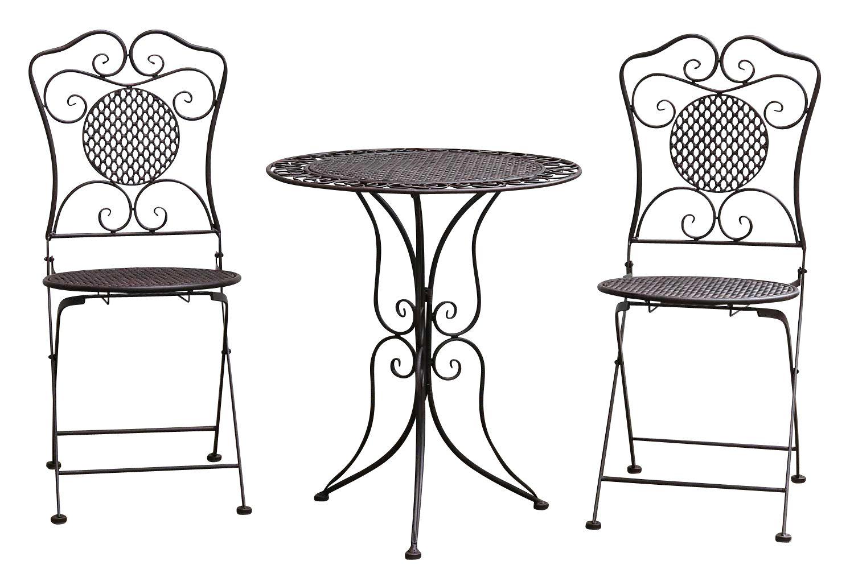 Détails sur Salon de jardin - 1 table et 2 chaises - métal - style antique  - marron