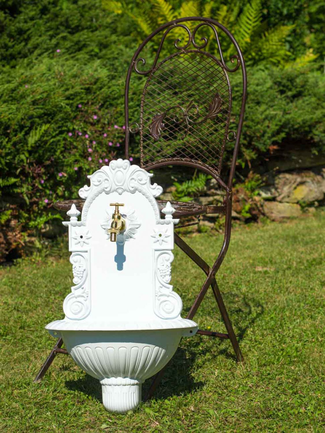 fontaine murale de jardin avec vasque style antique aluminium blanc ebay. Black Bedroom Furniture Sets. Home Design Ideas