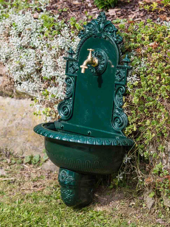 waschbecken wandbrunnen wein garten alu gr n antik stil brunnen waschplatz bad ebay. Black Bedroom Furniture Sets. Home Design Ideas