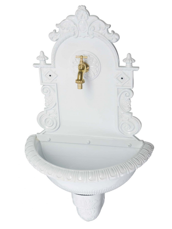 Standbrunnen Waschbecken Alu Brunnen Waschplatz Wandbrunnen antik Stil weiss