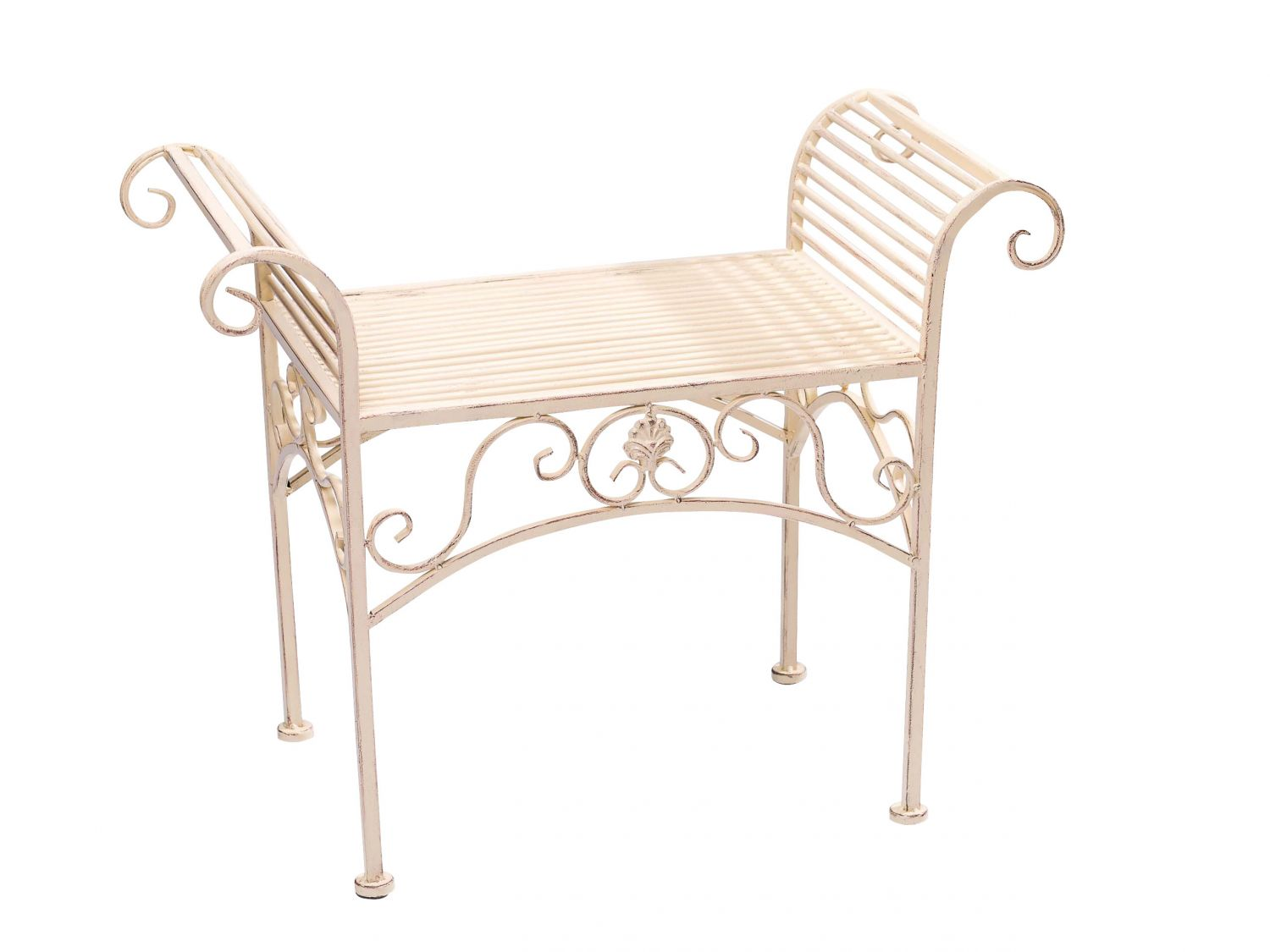 gartenbank eisen metall antik stil garten bank gartenm bel creme weiss 70cm ebay. Black Bedroom Furniture Sets. Home Design Ideas
