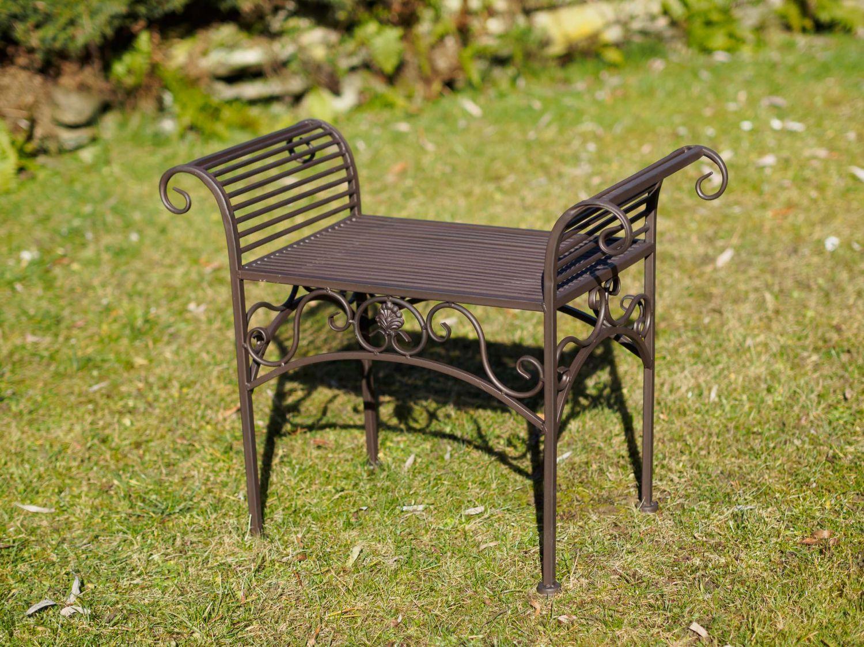 Banc meubles de jardin en m tal de style antique marron for Meuble de jardin en metal