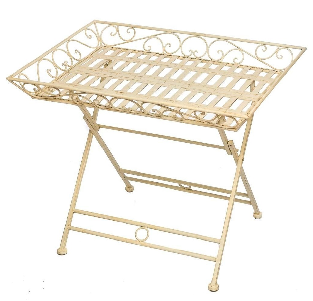 Table de jardin en fer forg table pliante table de table - Table fer forge blanc ...