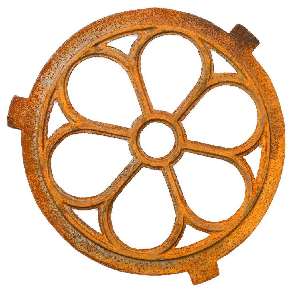 fen tre ronde barreaux fer forg rouille style antique 43cm ebay. Black Bedroom Furniture Sets. Home Design Ideas