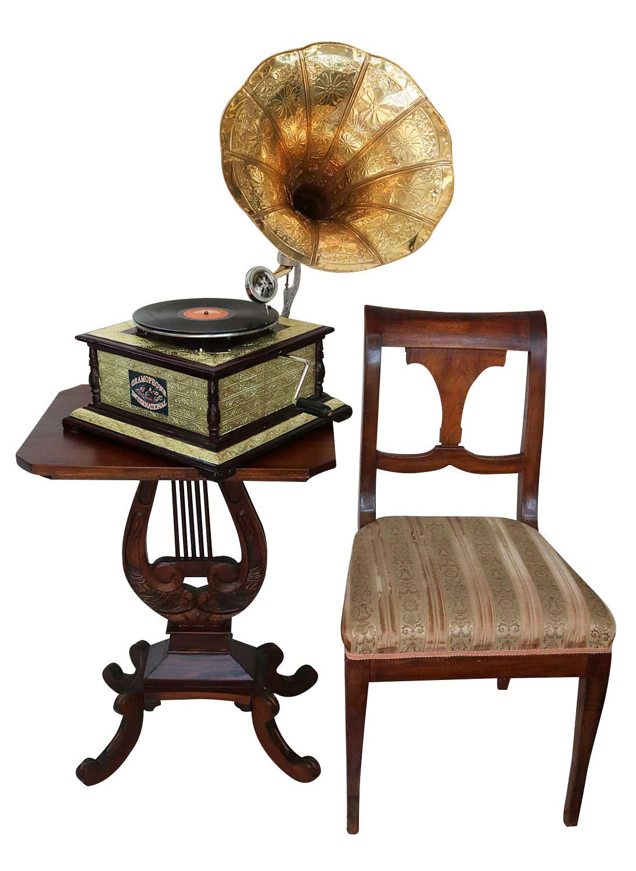 Gramophone avec pavillon pour disque 78 tours style for Jardin 8686