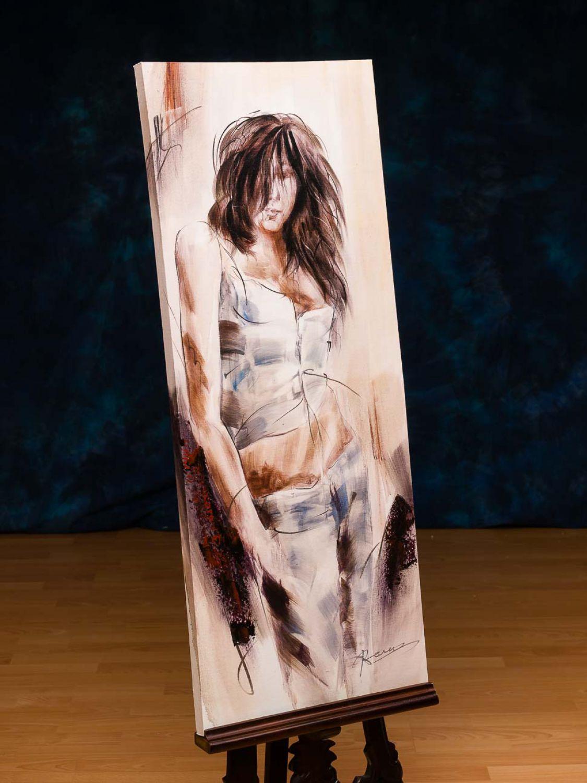 peinture l huile imprim e toile sur ch ssis motif jeune fille 100 x 40 c ebay. Black Bedroom Furniture Sets. Home Design Ideas