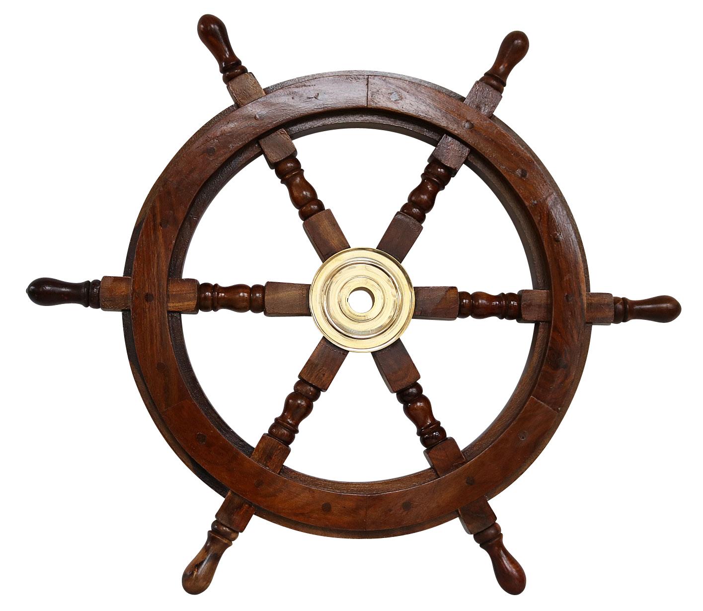 Nave volante rueda barco de madera latón 62cm estillo antiguo