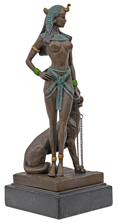Bronzeskulptur Kleopatra Bronzefigur Skulptur mit Panther Marmorsockel H.27cm