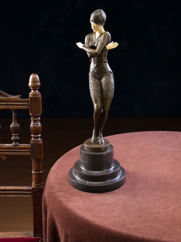 bronze bronzefigur t nzerin skulptur sculpture im art deco deko stil figur 38cm ebay. Black Bedroom Furniture Sets. Home Design Ideas
