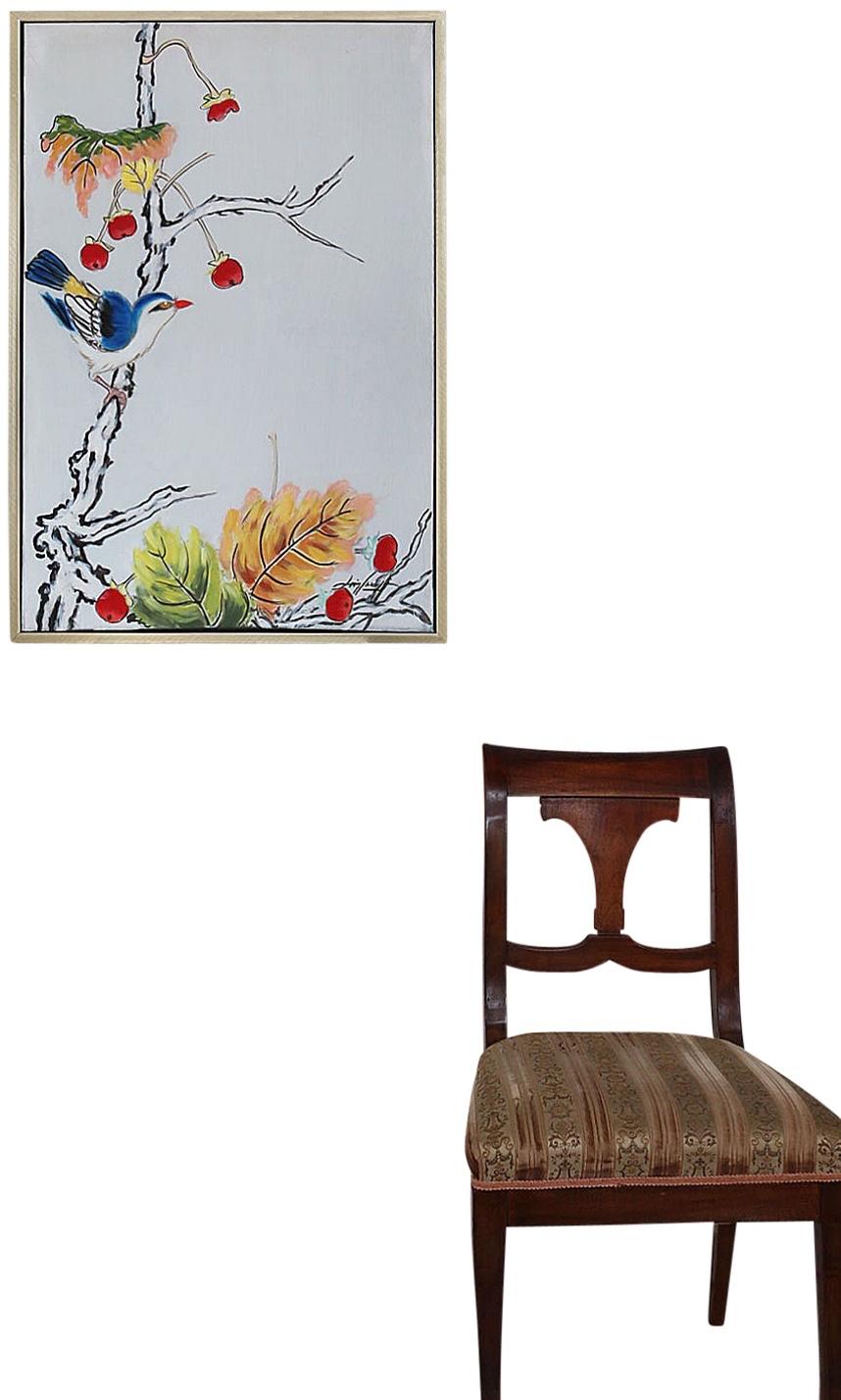 Original Gemälde Ölgemälde Vogel mit Vogelbeere mit Rahmen modern 94cm