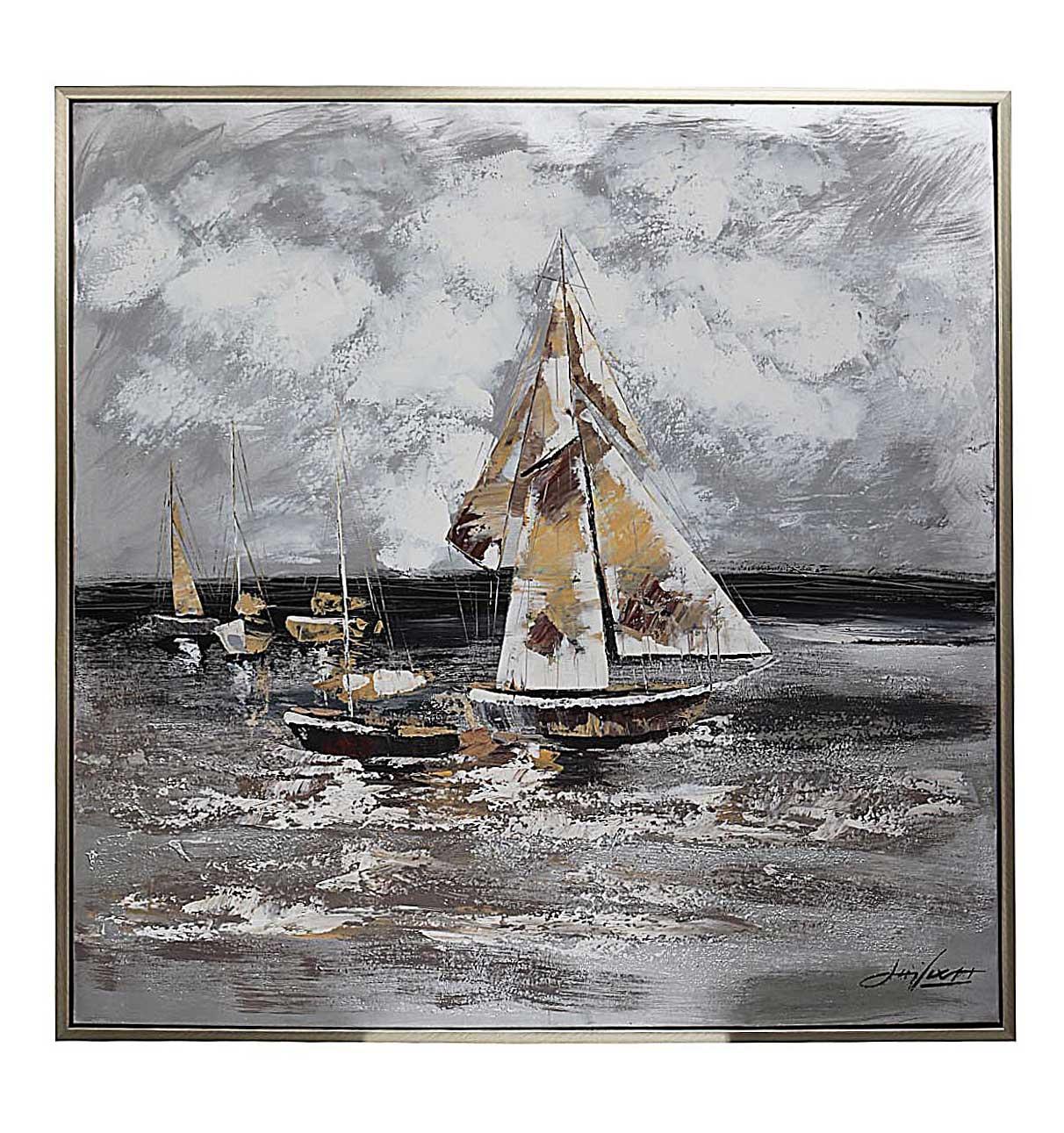 Original Gemälde Schiffe Segelschiff Meer Öl auf Leinwand Rahmen ...