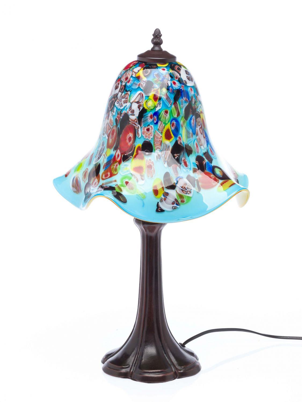 tischlampe lampe glas glasschirm im murano stil 53cm glass table lamp t rkis ebay. Black Bedroom Furniture Sets. Home Design Ideas