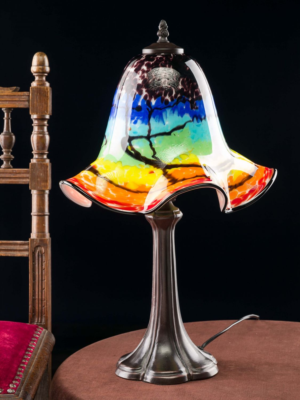 tischlampe lampe farbig glas glasschirm im murano stil 53cm glass table lamp ebay. Black Bedroom Furniture Sets. Home Design Ideas