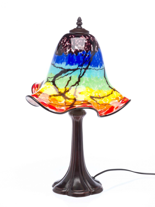 tischlampe lampe farbig glas glasschirm im murano stil. Black Bedroom Furniture Sets. Home Design Ideas