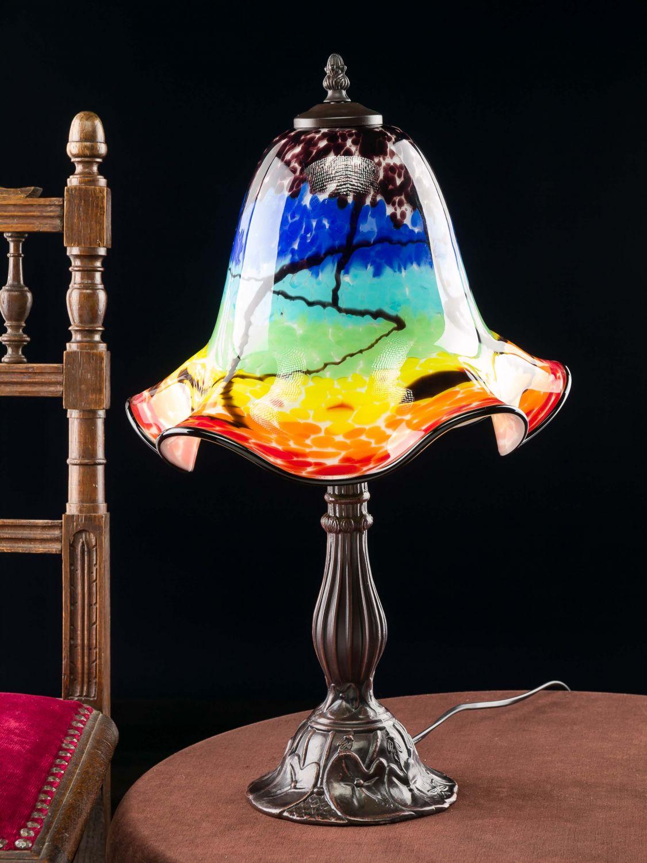 tischlampe lampe glas glasschirm im murano stil 53cm farbig glass table lamp ebay. Black Bedroom Furniture Sets. Home Design Ideas