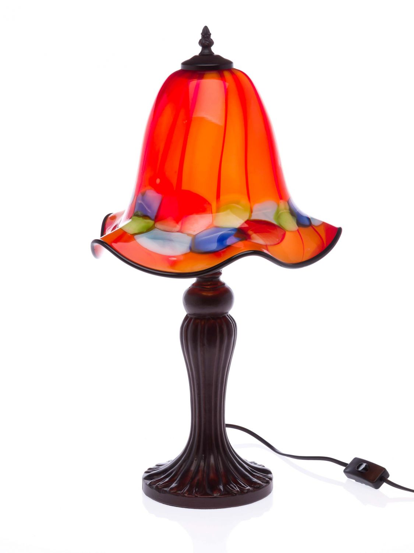 tischlampe lampe glas glasschirm im murano stil 61cm glass table lamp orange ebay. Black Bedroom Furniture Sets. Home Design Ideas