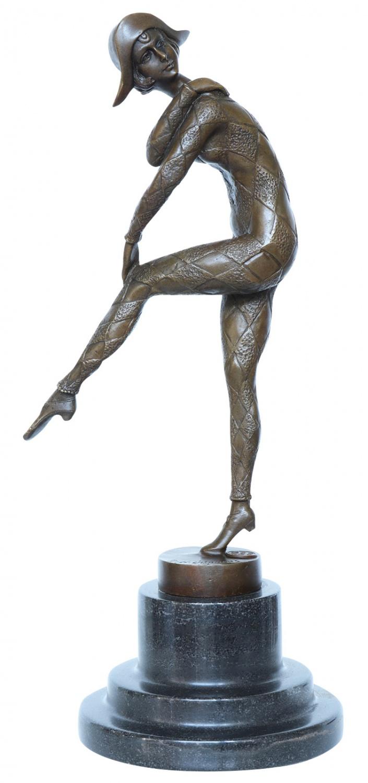 Bronzeskulptur Bronze Hindu Tänzerin nach Chiparus Skulptur Antik-Stil Replik