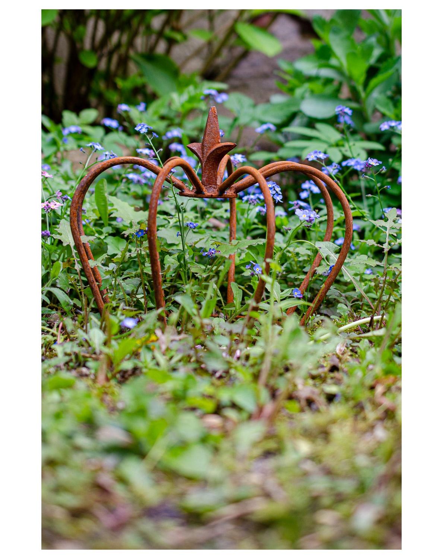 Détails sur Crête fer lis jardin décoration rouille style antique 24cm