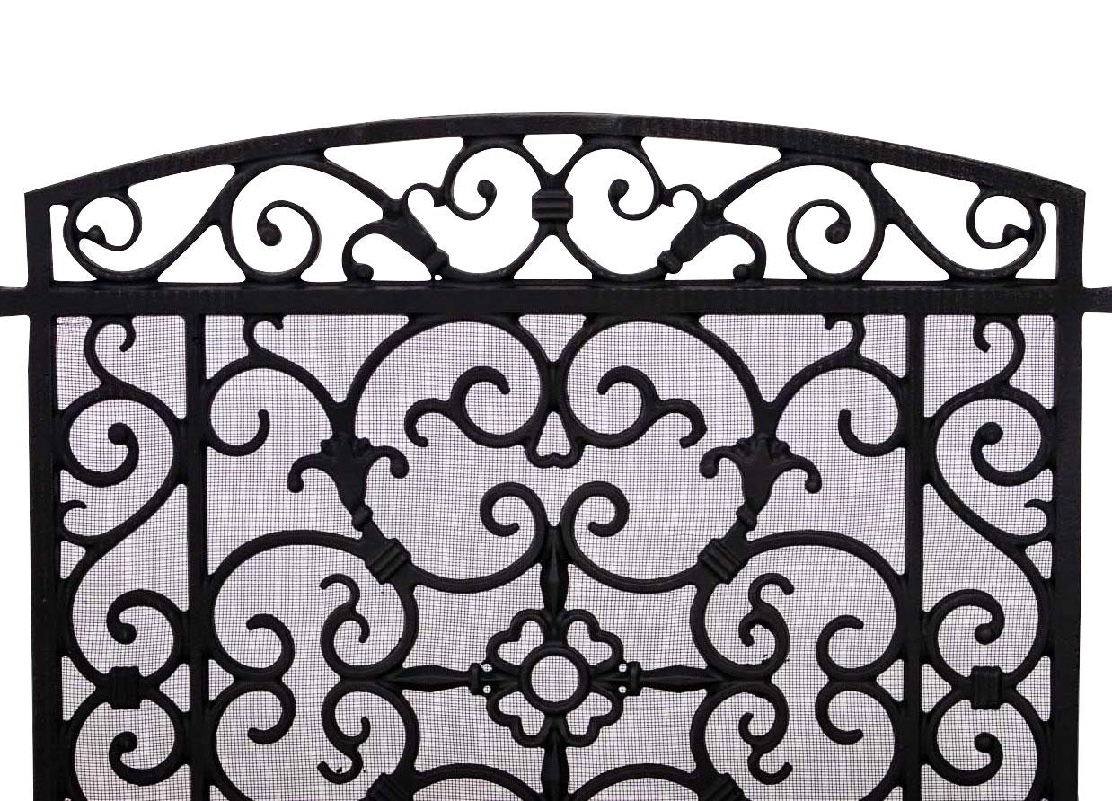 cran de chemin e pare feu de chemin e style antique grille de chemin e fer noir ebay. Black Bedroom Furniture Sets. Home Design Ideas